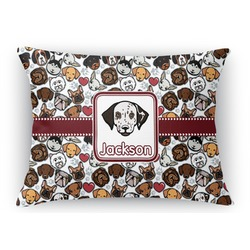 Dog Faces Rectangular Throw Pillow Case (Personalized)