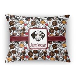"Dog Faces Rectangular Throw Pillow Case - 12""x18"" (Personalized)"