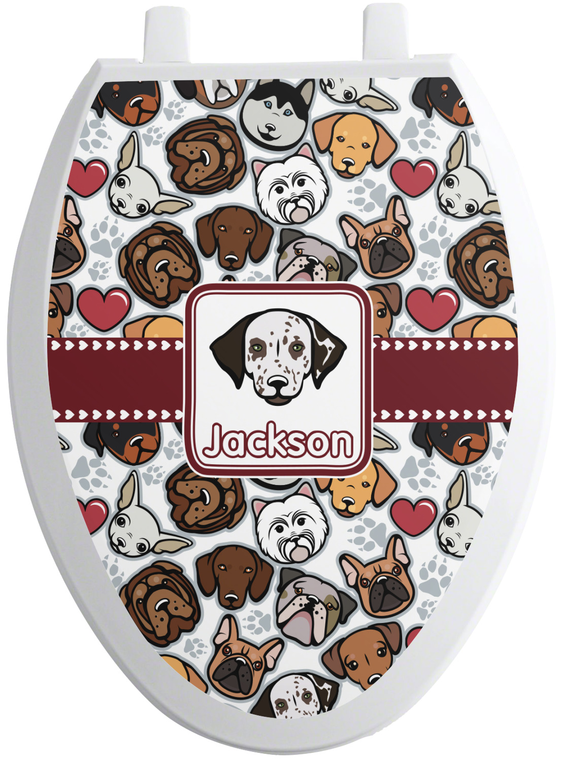 dog faces toilet seat decal personalized youcustomizeit. Black Bedroom Furniture Sets. Home Design Ideas