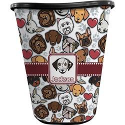 Dog Faces Waste Basket - Double Sided (Black) (Personalized)