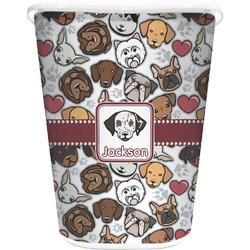 Dog Faces Waste Basket - Single Sided (White) (Personalized)
