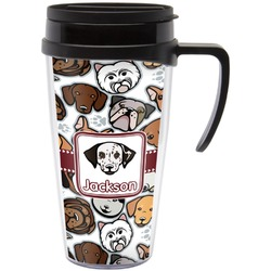 Dog Faces Travel Mug with Handle (Personalized)