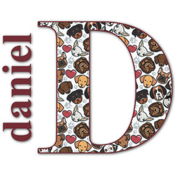 Dog Faces Name & Initial Decal - Custom Sized (Personalized)