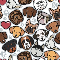 """Dog Faces Wallpaper & Surface Covering (Peel & Stick 24""""x 24"""" Sample)"""
