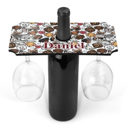 Dog Faces Wine Bottle & Glass Holder (Personalized)