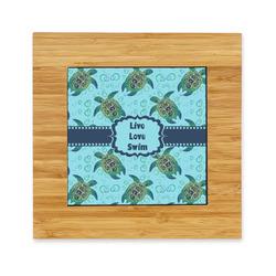 Sea Turtles Bamboo Trivet with Ceramic Tile Insert