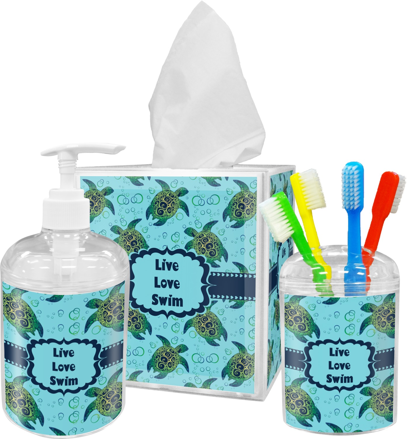 Sea Turtles Bathroom Accessories Set Personalized