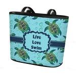 Sea Turtles Bucket Tote w/ Genuine Leather Trim (Personalized)