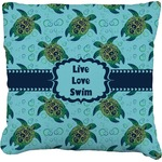 Sea Turtles Faux-Linen Throw Pillow (Personalized)