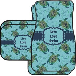 Sea Turtles Car Floor Mats Set - 2 Front & 2 Back (Personalized)