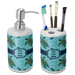 Sea Turtles Bathroom Accessories Set (Ceramic) (Personalized)