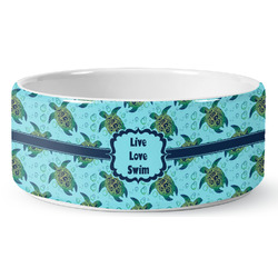 Sea Turtles Ceramic Dog Bowl (Personalized)