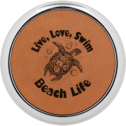 Sea Turtles Leatherette Round Coaster w/ Silver Edge - Single or Set (Personalized)