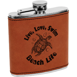 Sea Turtles Leatherette Wrapped Stainless Steel Flask (Personalized)
