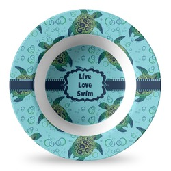 Sea Turtles Plastic Bowl - Microwave Safe - Composite Polymer (Personalized)