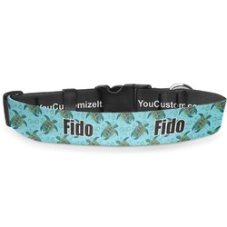"""Sea Turtles Deluxe Dog Collar - Toy (6"""" to 8.5"""") (Personalized)"""