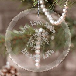Sea Turtles Engraved Glass Ornament