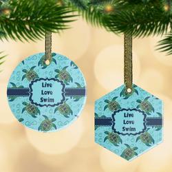 Sea Turtles Flat Glass Ornament