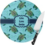 Sea Turtles Round Glass Cutting Board (Personalized)