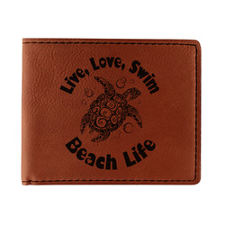 Sea Turtles Leatherette Bifold Wallet - Double Sided (Personalized)