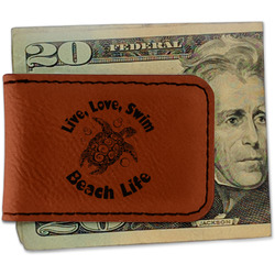 Sea Turtles Leatherette Magnetic Money Clip (Personalized)