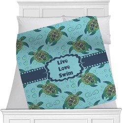 "Sea Turtles Fleece Blanket - Twin / Full - 80""x60"" - Single Sided (Personalized)"