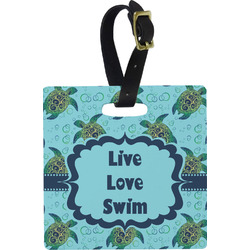 Sea Turtles Square Luggage Tag (Personalized)