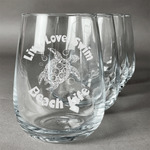 Sea Turtles Stemless Wine Glasses (Set of 4) (Personalized)