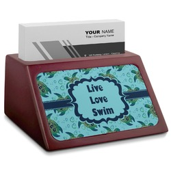 Sea Turtles Red Mahogany Business Card Holder (Personalized)
