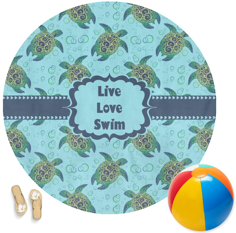 Sea Turtles Round Beach Towel Personalized Youcustomizeit