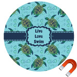 "Sea Turtles Round Car Magnet - 6"" (Personalized)"