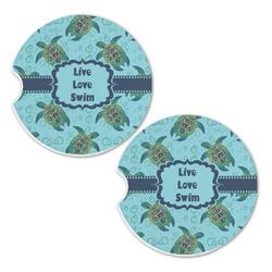 Sea Turtles Sandstone Car Coasters - Set of 2 (Personalized)