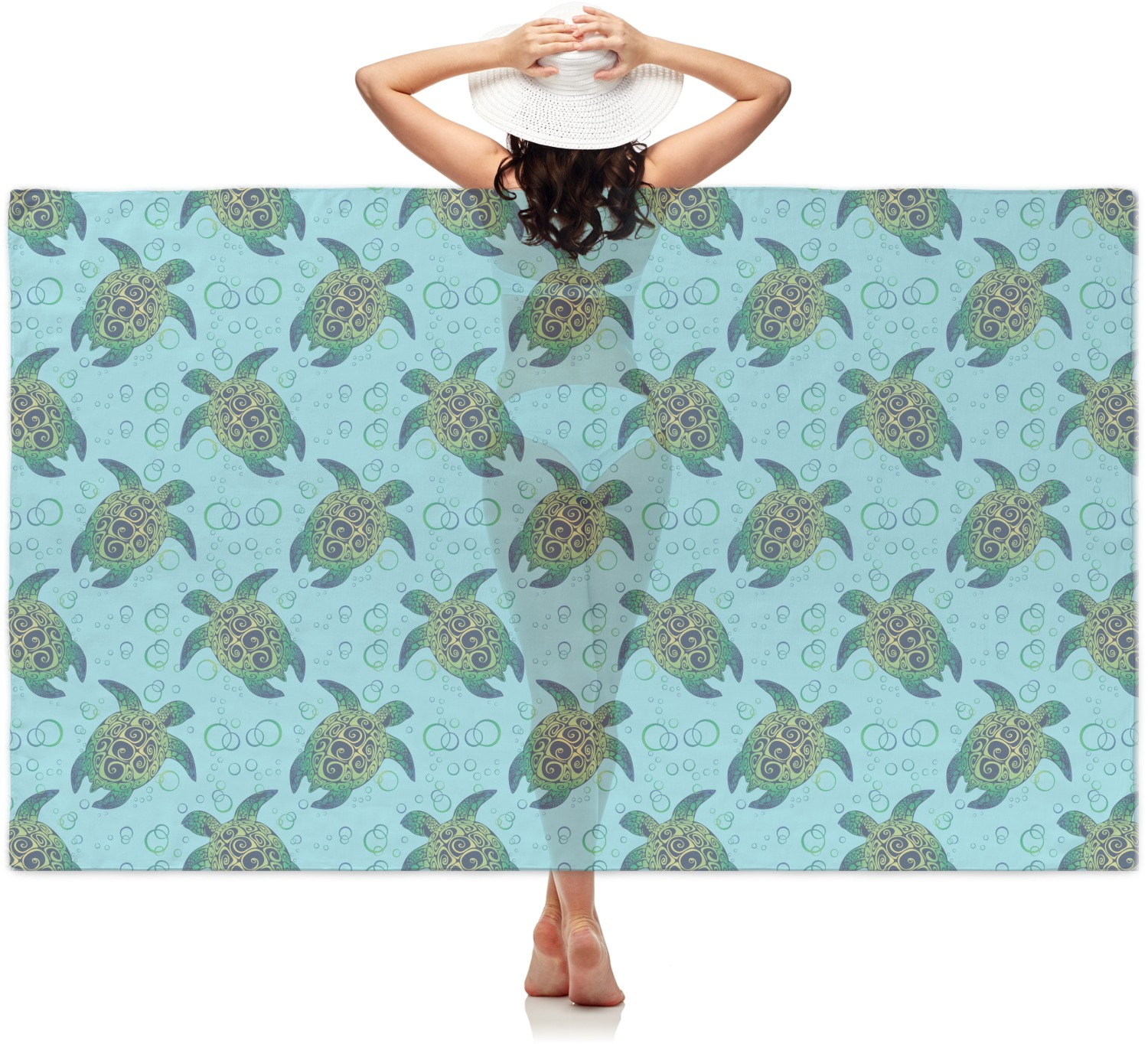 Blue YouCustomizeIt Cowgirl Sheer Sarong Personalized