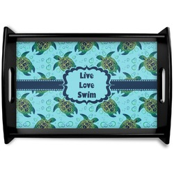 Sea Turtles Black Wooden Tray (Personalized)