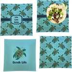 Sea Turtles Set of 4 - Square Dinner Plates (Personalized)