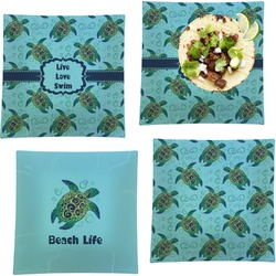 """Sea Turtles Set of 4 Glass Square Lunch / Dinner Plate 9.5"""" (Personalized)"""