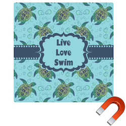 """Sea Turtles Square Car Magnet - 6"""" (Personalized)"""