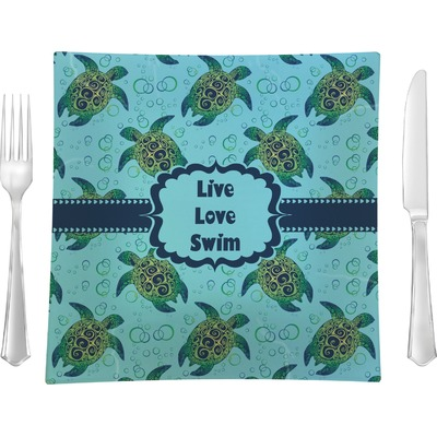 """Sea Turtles 9.5"""" Glass Square Lunch / Dinner Plate- Single or Set of 4 (Personalized)"""