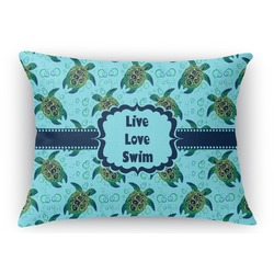 "Sea Turtles Rectangular Throw Pillow Case - 12""x18"" (Personalized)"