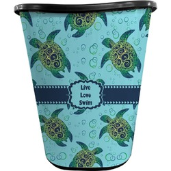 Sea Turtles Waste Basket - Double Sided (Black) (Personalized)