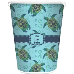Sea Turtles Waste Basket - Double Sided (White) (Personalized)