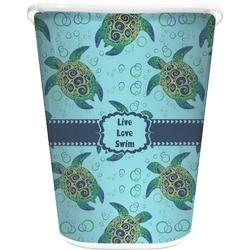 Sea Turtles Waste Basket - Single Sided (White) (Personalized)