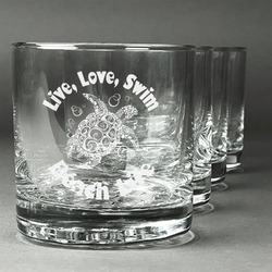 Sea Turtles Whiskey Glasses (Set of 4) (Personalized)