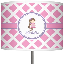 "Diamond Print w/Princess 13"" Drum Lamp Shade (Personalized)"
