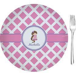 "Diamond Print w/Princess Glass Appetizer / Dessert Plate 8"" (Personalized)"