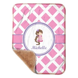 "Diamond Print w/Princess Sherpa Baby Blanket 30"" x 40"" (Personalized)"