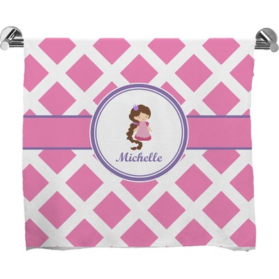 Diamond Print w/Princess Full Print Bath Towel (Personalized)
