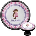 Diamond Print w/Princess Cabinet Knob (Black) (Personalized)