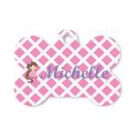 Diamond Print w/Princess Bone Shaped Dog ID Tag (Personalized)