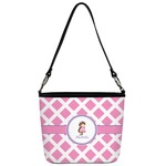 Diamond Print w/Princess Bucket Bag w/ Genuine Leather Trim (Personalized)